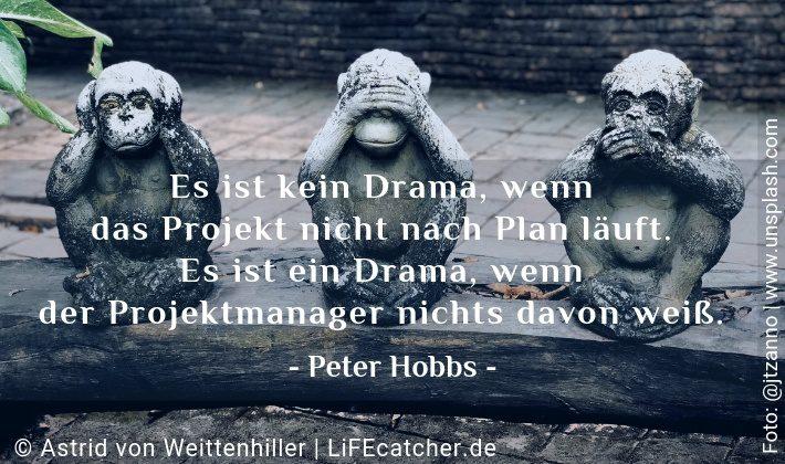 Es ist kein Drama, wenn das Projekt nicht nach Plan läuft. Es ist ein Drama, wenn der Projektmanager nichts davon weiß. Peter Hobbs • Design by Astrid von Weittenhiller